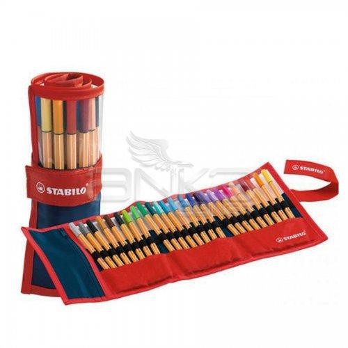 Stabilo Point 88 İnce Keçe Uçlu Kalem 25li Kırmızı Rulo Çantalı Set