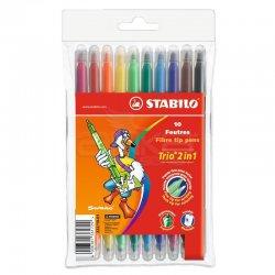 Stabilo - Stabilo Trio 2in1 Çift Uçlu Keçeli Kalem 10 Renk Askılı Paket (222/10-01)