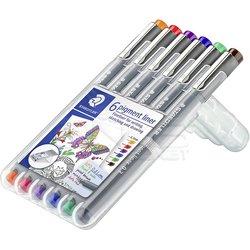 Staedtler - Staedtler 6 Pigment Liner Karışık Renk 0.3mm 6lı Set