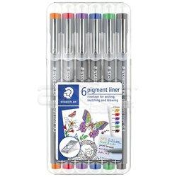 Staedtler - Staedtler 6 Pigment Liner Karışık Renk 0.3mm 6lı Set (1)