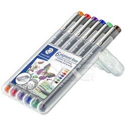 Staedtler - Staedtler 6 Pigment Liner Karışık Renk 0.5mm 6lı Set (1)