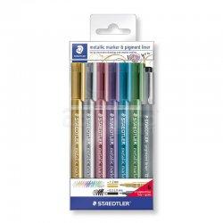 Staedtler - Staedtler Metallic Marker & Pigment Liner Set 7li