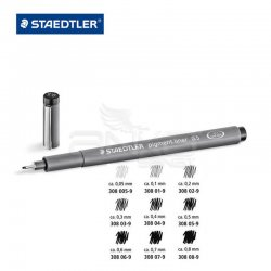Staedtler - Staedtler Pigment Liner Siyah Çizim Kalemi 7+1 Set (1)