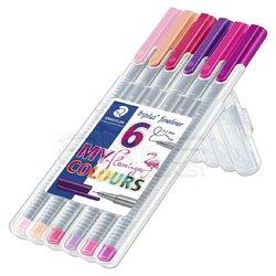 Staedtler - Staedtler Triplus Fineliner İnce Uçlu Keçeli Kalem 0.3mm Flamingo 6lı Set (1)