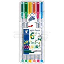 Staedtler Triplus Fineliner İnce Uçlu Keçeli Kalem 0.3mm My Tropical 6lı Set - Thumbnail