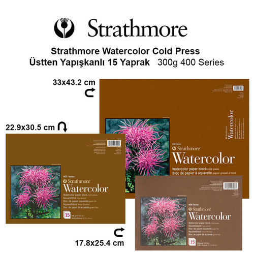Strathmore Watercolor Cold Press Üstten Yapışkanlı 15 Yaprak 300g 400 Series