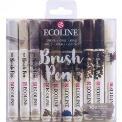 Talens - Talens Ecoline Brush Pen 10lu Set Gri Renkler 9805