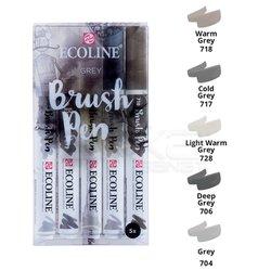 Talens Ecoline Brush Pen 5li Set Gri Tonlar - Thumbnail