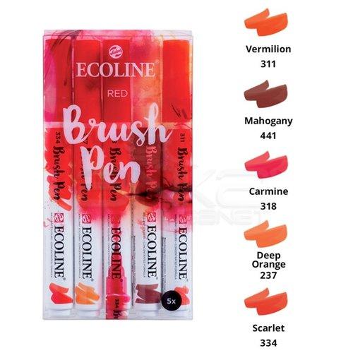 Talens Ecoline Brush Pen 5li Set Kırmızı Tonlar