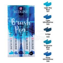 Talens - Talens Ecoline Brush Pen 5li Set Mavi Tonlar