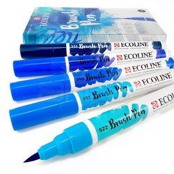 Talens - Talens Ecoline Brush Pen 5li Set Mavi Tonlar (1)