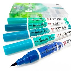 Talens - Talens Ecoline Brush Pen 5li Set Yeşil-Mavi Tonlar (1)