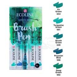 Talens Ecoline Brush Pen 5li Set Yeşil-Mavi Tonlar - Thumbnail