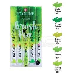 Talens - Talens Ecoline Brush Pen 5li Set Yeşil Tonlar