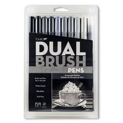 Tombow - Tombow Dual Brush Pen 10lu Grayscale Palette