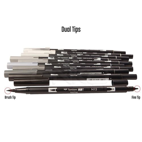 Tombow Dual Brush Pen 10lu Grayscale Palette