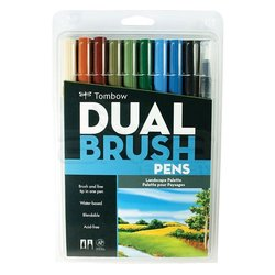 Tombow - Tombow Dual Brush Pen 10lu Landscape Palette