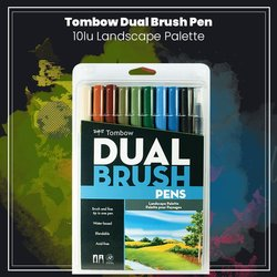 Tombow - Tombow Dual Brush Pen 10lu Landscape Palette (1)