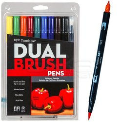 Tombow - Tombow Dual Brush Pen 10lu Primary Palette (1)