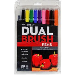 Tombow - Tombow Dual Brush Pen 10lu Primary Palette