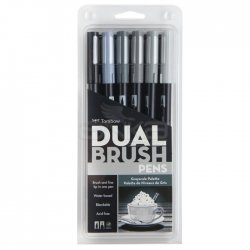 Tombow - Tombow Dual Brush Pen 6lı Grayscale Palette