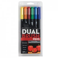 Tombow - Tombow Dual Brush Pen 6lı Primary Palette