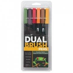 Tombow - Tombow Dual Brush Pen 6lı Secondary Palette