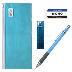 Tombow - Tombow SH300 Grip Mekanik Uçlu Kalem 0.7mm Kalemlikli Set Mavi