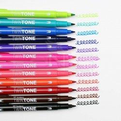 Tombow - Tombow TwinTone Çift Taraflı İşaretleme Kalemi Parlak Renkler 12li (1)