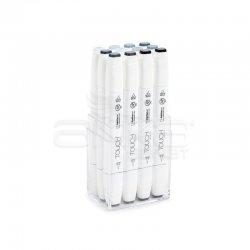 Touch - Touch Twin Brush Marker Kalem 12li Set Mavimsi Griler