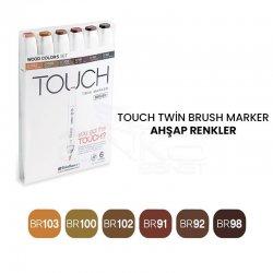Touch - Touch Twin Brush Marker Kalem 6lı Set Ahşap Renkler