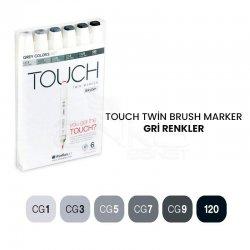 Touch - Touch Twin Brush Marker Kalem 6lı Set Gri Renkler
