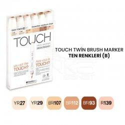 Touch - Touch Twin Brush Marker Kalem 6lı Set Ten Renkleri (B)