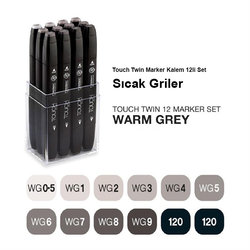 Touch Twin Marker Kalem 12li Set Sıcak Griler - Thumbnail