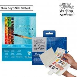 Winsor&Newton - Winsor&Newton Cotman Compact 14lü Sulu Boya Seti Defter Hediyeli