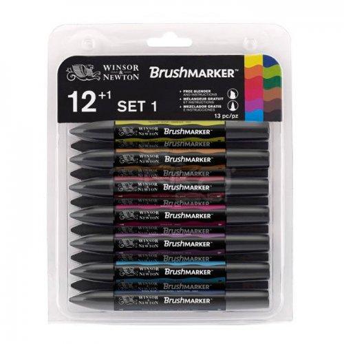 Winsor&Newton Brush Marker 12+1 Set Vibrant Tones