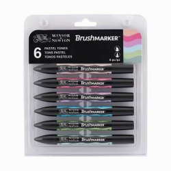 Winsor&Newton - Winsor&Newton Brush Marker 6lı Set Pastel Tones