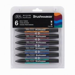Winsor&Newton - Winsor&Newton Brush Marker 6lı Set Rich Tones