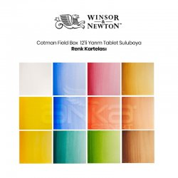 Winsor&Newton - Winsor&Newton Cotman Field Box Cep Tipi Sulu Boya Seti 12li Yarım Tablet (1)