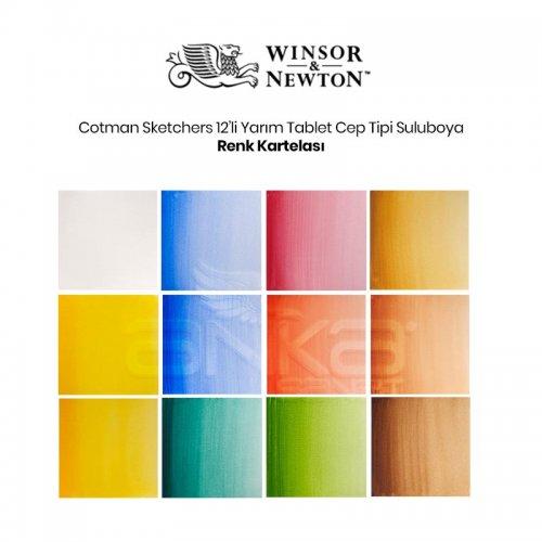 Winsor&Newton Cotman Sketchers Sulu Boya Cep Tipi 12 Renk - 1/2 Tablet