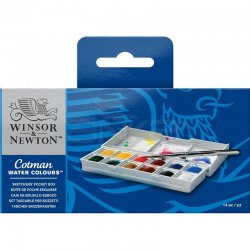 Winsor&Newton - Winsor&Newton Cotman Sketchers Sulu Boya Cep Tipi 12 Renk - 1/2 Tablet (1)