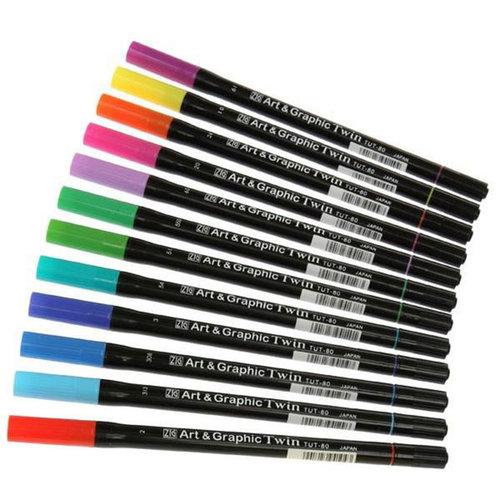 Zig Art & Graphic Twin Brush Pen Çift Uçlu Çizim Kalemi 12li Set Bright - TUT-80/12VBR