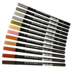Zig - Zig Art & Graphic Twin Brush Pen Çift Uçlu Çizim Kalemi 12li Set Muted - TUT-80/12VMU (1)