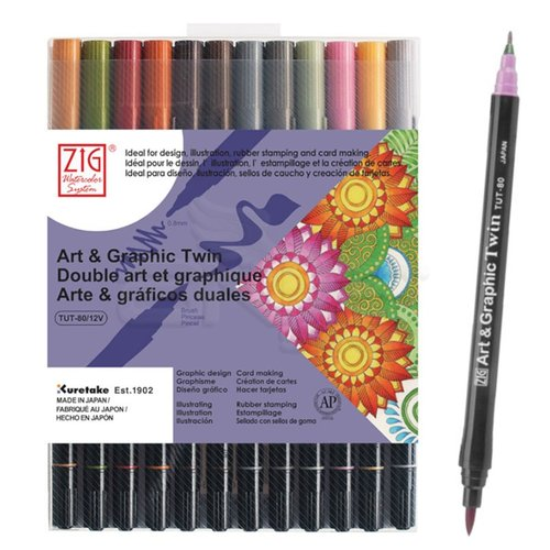 Zig Art & Graphic Twin Brush Pen Çift Uçlu Çizim Kalemi 12li Set Muted - TUT-80/12VMU