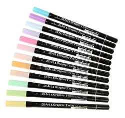 Zig - Zig Art & Graphic Twin Brush Pen Çift Uçlu Çizim Kalemi 12li Set Pastel - TUT-80/12VPA (1)
