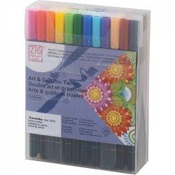 Zig - Zig Art & Graphic Twin Brush Pen Çift Uçlu Çizim Kalemi 48li Set TUT-80/48V