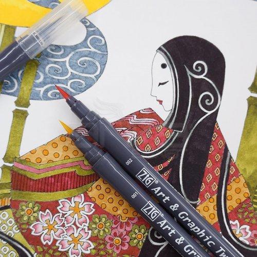 Zig Art & Graphic Twin RB+F Çift Uçlu Çizim Kalemi 12li Set TUT-95/12VGR