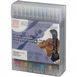 Zig - Zig Art & Graphic Twin RB+F Çift Uçlu Çizim Kalemi 48li Set TUT-95/48V