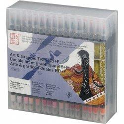 Zig - Zig Art & Graphic Twin RB+F Çift Uçlu Çizim Kalemi 80li Set TUT-95/80V