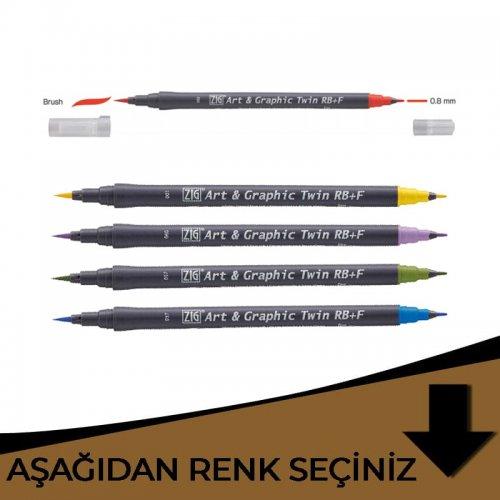 Zig Art&Graphic Twin RB+F Çift Uçlu Çizim Kalemi Kahverengi Tonlar